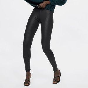 NWT Zara Size L Faux Snakeskin Leggings